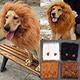 Costume da parrucca mane di leone, realistica e divertente criniera di leone per cani Animali domestici lavabili con fantasia a forma di pelo di leone Vestiti per cani di piccola e media taglia