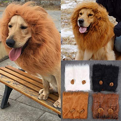 Lion Mähne Perücke Kostüm, Realistisch & Lustig Lion Mähne für Hunde Haustiere Waschbar Fancy Lion Hair Dog Kleidung Kleid für kleine mittelgroße bis große Hunde (Color : - Realistische Kostüm