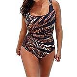 Fansu Badeanzug Damen große größe, Schlankheits Einteiler Bademode Badekleid Gemütlich Rueckenfrei One Piece Strandmode