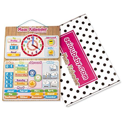 MAGNETISCHE KINDER-KALENDERUHR, Lernspiel Datum Wetter und Zeit für Wand oder Kühlschrank, 43x32cm. Ideale Box als Geschenk zum Kindergeburtstag in der Schule oder im Kindergarten (Deutsch)