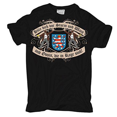 Männer und Herren T-Shirt Hüte dich DDR Thüringen Schwarz