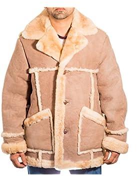 Hombres Del Boy beige / piedra de color lujoso piel de oveja caliente de cuero de abrigo de invierno largo