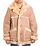 Herren Del Boy Beige / Stein ColouRot Luxurišse Warme Schaffell Leder Lang Wintermantel