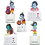Wall Decal ' Baby Krishna ' Wall Sticker - Set Of 5 By Paper Plane Design(swall_decal_krishna_012_New33)