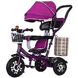 SSRS Kinderwagen Dreirad 4 in 1 Kinder Fahrrad Baby Kleinkinder mit Lenkbarer Schubstange, mit FlüSterleise Gummireifen und Sonnendach für Jungen und Mädchen ab 12 Monate -5 Jahre, Purple