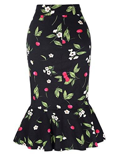 Kate Kasin Damen Meerjungfrau Bleistiftrock Vintage Casual Business Mehrfarbig Rock KK241 Blumen