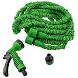 Cowboycool Watering Equipment Accessories for Hoses Expandable Hose Pipe Light Weight NON KINK add 7 Function Water Spray Nozzle-Blue/Green(25/50/75/100/125/150ft)