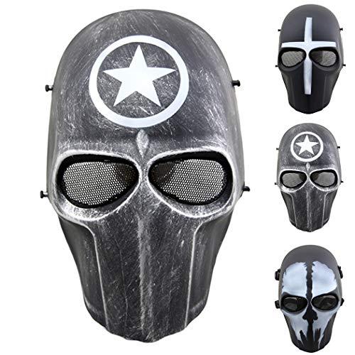 outgeek Softair Maske Full Face Schutzhülle Mesh Maske Totenkopf Maske für Kostüm, Defender (Full Face Maske Kostüm)