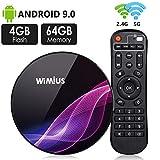 TV Box Android 9.0, Android Box TV 4K Ultra HD [4G RAM+64G ROM] WiMiUS K1 Pro Boîtier TV Dual WiFi 2.4G/5G/ LAN 100Mbps/ Amlogic S905X2/ H.265 64Bit/ USB 3.0/ Bluetooth 4.0 [2019 Dernière Version]