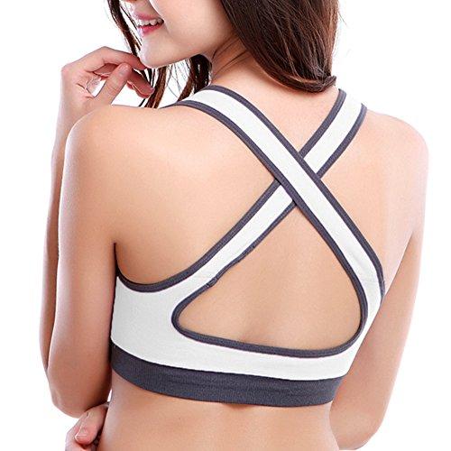 iBaste Femme Soutien Gorge de Sport Armatures Dos Nageur Emboîtant Bretelles Croisées Blanc