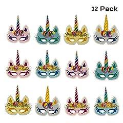Idea Regalo - DUOPHY 12 pezzi arcobaleno unicorno maschere bambini festa di compleanno forniture per feste unicorno