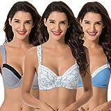 Curve Muse Damen Bügel-BH ohne Futter aus Baumwolle, Übergröße 3er-Pack Gr. 105DD, White Print,Blue,cool Gray