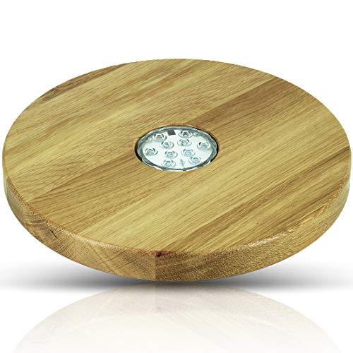 Blowglow Shisha Untersetzer led   Shisha Zubhör   Holz: Eiche   Sehr groß: 30cm Durchmesser   Hochwertige Handarbeit   led Lampe inklusive