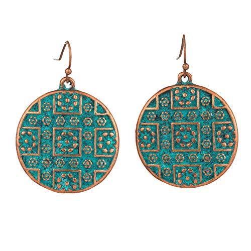 Orecchini Smeraldo By clifcragrocl, vintage bohemien boho stile etnico piercing intaglio rotondo donne gancio orecchini - bronzo antico