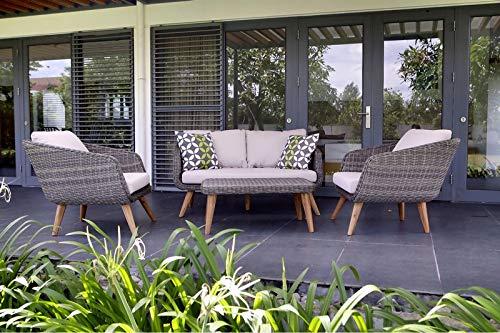 Au jardin de Chloé-Salon de Jardin en résine tressée-Ensemble 1 canapé +2 faueuils+1 Table Basse -LOENIE-AUJARDINDECHLOE
