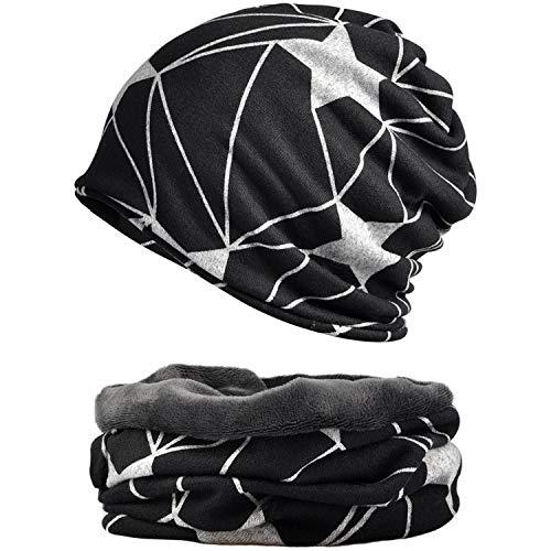 Snyemio cappello sciarpa donna, 2 pezzi inverno caldo maglia cotone beanie berretto sportivo con sciarpa set (white, taglia unica)