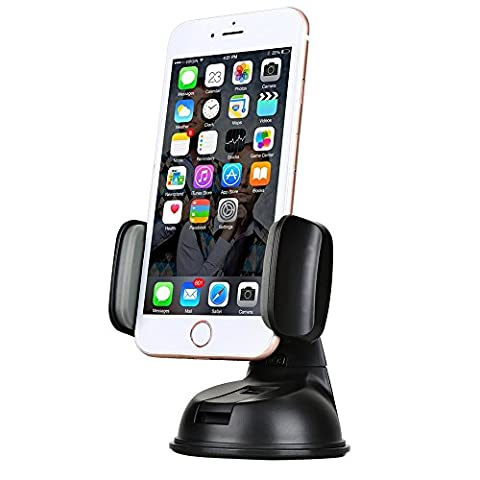 Car Phone Mount Holder, Car Windshield Dashboard Suction Mount Holder Universal Car Mobile Phone Cradle with Strong Sticky Suction Cup and Anti-slip Silicone Clamp