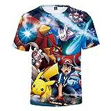 Pikachu Camisetas Manga Corta Niño Niña 3D Impresión Camiseta Verano Casual Suelto Camisas tee Shirt O-Cuello Blusa Deportiva Tops (10,160)