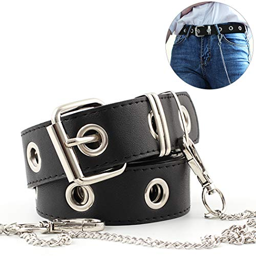 ZOYLINK Damen Jeans Gürtel Mode Hohl Punk Style Hosen Gürtel Mit Kette