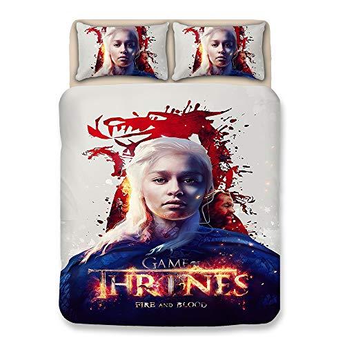 Full-size-bett Bettdecken (CXDM 3D Bettbezug Set Mit Reißverschluss Game of Thrones Gedruckt Bettwäsche Bettbezug Set Für Kinder Teen Erwachsene (Full Size),UKSuperking)
