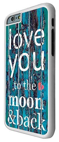 556-Cool Funky I Love You to the moon and back Coque iPhone 66S 4.7Design Fashion Trend Case Back Cover Métal et Plastique-Blanc