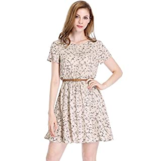 Allegra K Women's Summer Boho Above Knee Floral Skater Dress w Belt Pink M (UK 12)
