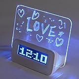 Baban - Reloj despertador electrónico con rotulador para dejar mensajes en la pizarra transparente y cable USB, despertador digital con calendario