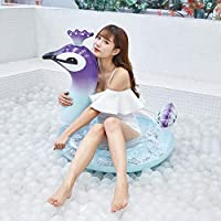 Cossll498 Summer Inflatable Peacock Shape Sequins PVC Water Toy Floating Mat Pad Cushion - L