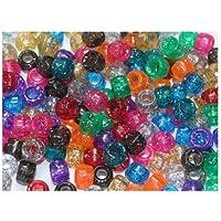CI - Perline in plastica, 150 pezzi, trasparenti con brillantini
