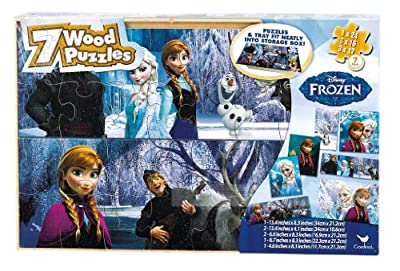 Disney Frozen 7 Wood Puzzles in Wood Storage Box por Cardinal Games