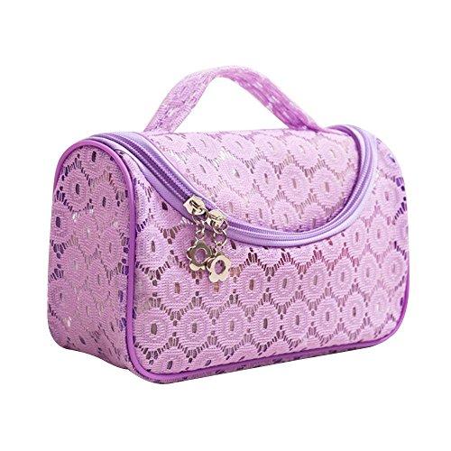 NACHEN Make-up Taschen für Frauen Lace Portable Reise Kosmetik Waschen Tasche Wasserdichte Aufbewahrungsbeutel Finishing Bag Purple