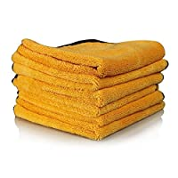 Detailer's Garage Professional Grade Miracle Microfiber Towel, Gold (24 in. x 16 in.) (Pack of 6) (Gold with Black Trim)