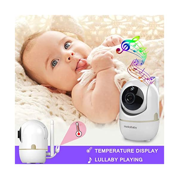 "HelloBaby HB248 Video Baby Monitor with Remote Camera Pan-Tilt-Zoom, 2.4'' Color LCD Screen, Infrared Night Vision, Temperature Monitoring, Lullaby, Two Way Audio, Includes Wall-mounting Parts HELLO BABY 2.4"" LCD DISPLAY & 2.4GHz WIRELESS TECHNOLOGY: This video baby monitor is equiped with a 2.4 inch TFT LCD display. Application of frequency hopping and digital encryption technology ensures secure and reliable connection. REMOTE PAN TILT and ZOOM: Remote control camera rotate 355° in horizontal and 120° vertical ensuring you always have a clear view of your baby from any angle. TWO WAY TALK: The crystal clear two-way audio feature allows conversation both ends as clear as if you were in the same room with your little one. 2"