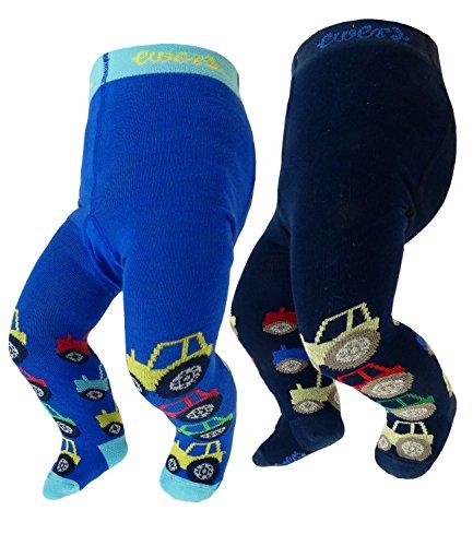 EveryKid Ewers 2er Pack Babystrumpfhosen Sparpack Jungen Strumpfhose Markenstrumpfhose coole Trecker für Babys (EW-905042-S18-BJ1-1139-1261-98/104) in Navy-Aqua, Größe 98/104 inkl Fashionguide