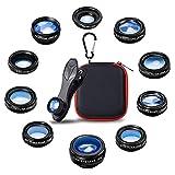 Patasen 10 in 1 Telefono Universale Kit Obiettivo Fotocamera grandangolare, Macro, fisheye, teleobiettivo, Caleidoscopio, CPL/Flow/Star/Filtro Radiale per iPhone Samsung Gran Parte degli Smartphone