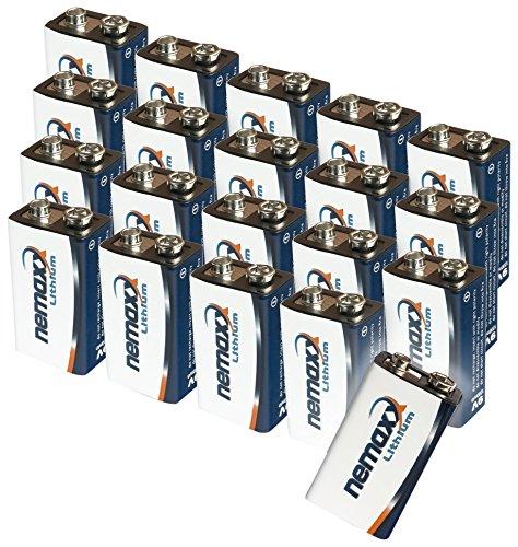 20x Nemaxx Lithium 9V Block Batterie Set für Rauchmelder 10 Jahre Lebensdauer