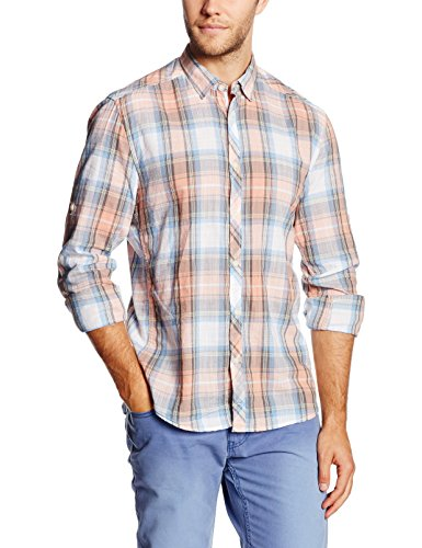 TOM TAILOR Denim - summer tartan shirt, Camicia Uomo, Rosa (dusty salmon red 5679), Small (Taglia Produttore: Small) - Camicia Salmon