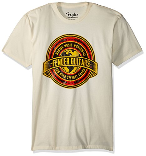 Fender Worldwide Men T-Shirt - Größe L - TAN (Baumwolle Shirt Tan)