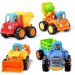 Frühe Bildung 18Monate + Old Baby Spielzeug Push und Go Reibung powered Auto Spielzeug Sets von 4Traktor Bulldozer Mixer Truck und Kipper für Kinder Kinder Jungen Mädchen
