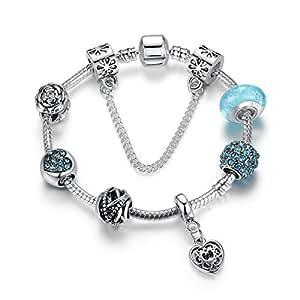 Bracelet Femmes en Argent 925 Plaqué,Bleu Verre Perles CœUr Breloque,Bijoux Fantaisie,Cadeau