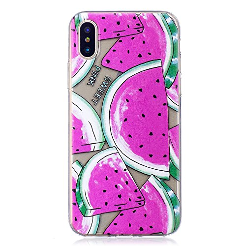 "Coque pour Apple iPhone X , IJIA Transparent Mignon Dauphins TPU Doux Housse Silicone Case Bumper Cover Shell Etui pour Apple iPhone X (5.8"") HX34"