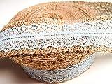 CaPiSo 5 m Juteband mit Spitze Sackleinen Hessische Spitze Jute 40mm breit (Hellblau)