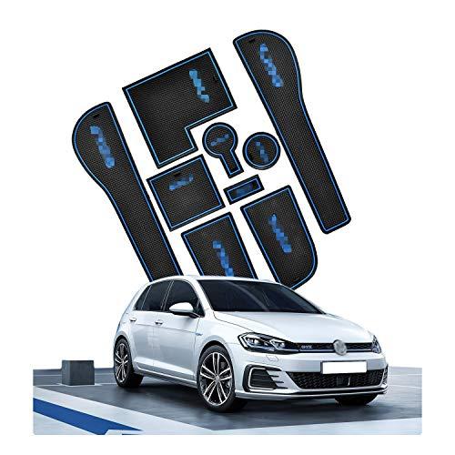 CDEFG Golf 7 R GTD GTI GTE Auto Innere Türschlitz rutschfest Anti-Staub Becherhalter Matte Arm Box Aufbewahrung Pads (Blau)