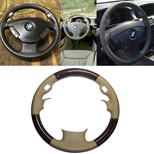 Preisvergleich Produktbild Goodangie00 Beige Tan Leder Braun Holz Lenkradschutz Lenkradbezug Trim Cover 2002-2008 3-Speichen E65 E66 7 Serie 735i 745Li 745i 750i 750Li 760Li 760i