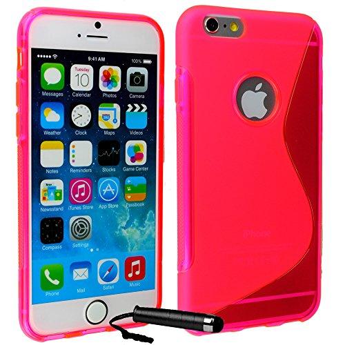 Ownstyle4you - APPLE IPHONE 6S PLUS Coque Housse Etui PREMIUM Gel Souple S-Line PINK Protection Pare-Chocs Goutte Absorption des Chocs + Protecteur d'écran tactile