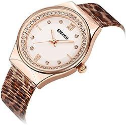 ETEVON Women's Quartz Leopard Mesh Strass Armbanduhr mit Crystal Rose Gold Case Edelstahl wasserdicht, Unique Fashion Uhren für Damen