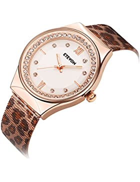ETEVON Women's Quartz Leopard Mesh Strass Armbanduhr mit Crystal Rose Gold Case Edelstahl wasserdicht, Unique...