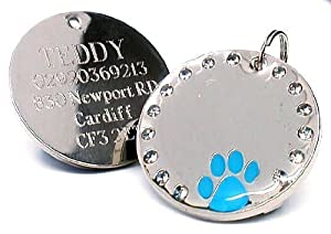 Personalised 30mm Round Crystal and Blue Paw Dog Pet ID Tag Disc Engraved.......TO LEAVE ENGRAVING DETAILS PLEASE READ PRODUCT DESCRIPTION LOWER DOWN THIS PAGE.