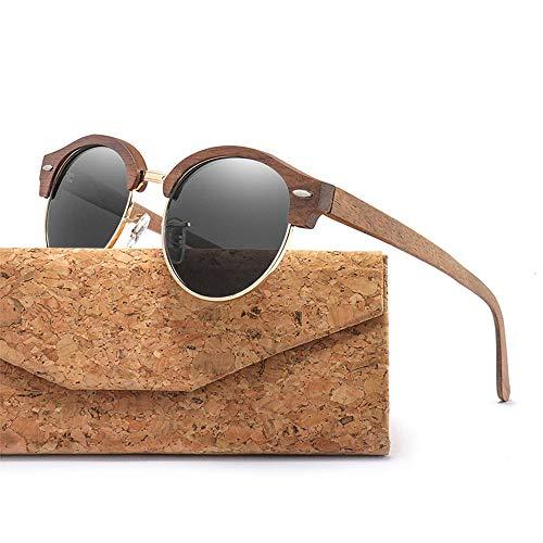 Zbertx Halbrandlose runde Holz-Sonnenbrille für Männer und Frauen Polarisierte Uv400 Womens Sonnenbrille,Black