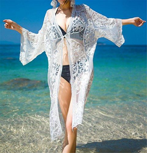 EMIN Damen Boho Damen Strandponcho Sommer Lose Schulterfrei Strandkleid Bikini Cover Up Gedruckt chiffon Weiß